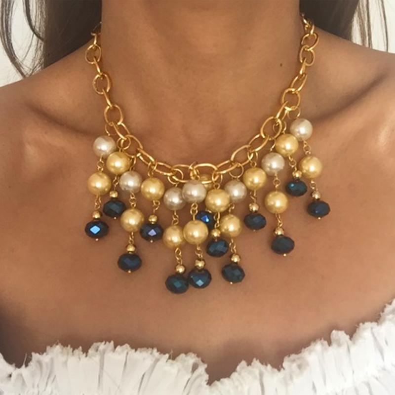 f5df4c9e49e0 Collar perla y murano azul – Deshojando Margaritas