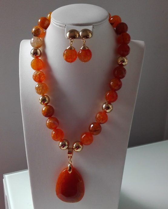 4fa38a4af56e Collar ágata naranja y dije piedra natural – Deshojando Margaritas